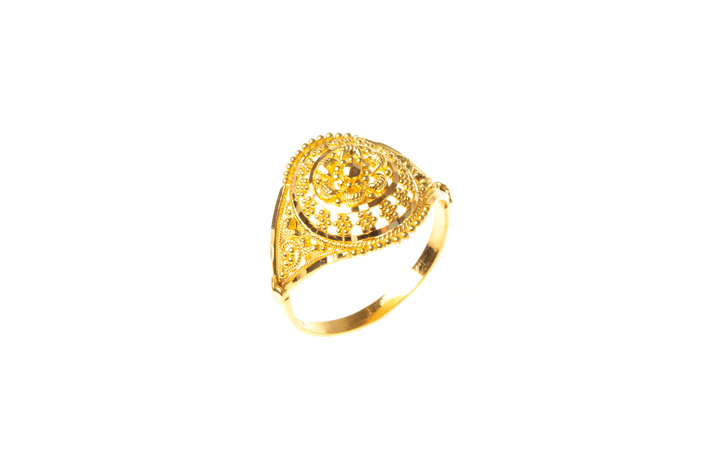 22ct Gold Filigree Dress Ring (2.9g) LR-7825