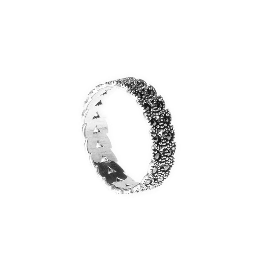 Sterling Silver Eternity Ring set with rhinestones LR-7932