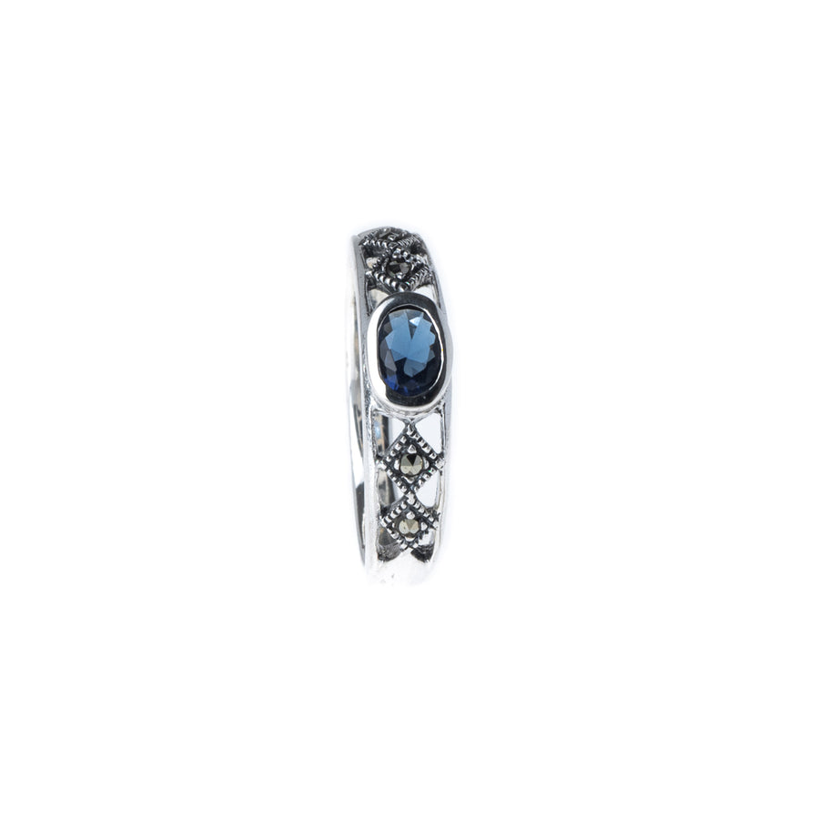 Sterling Silver Ring set with Blue Stone LR-7935