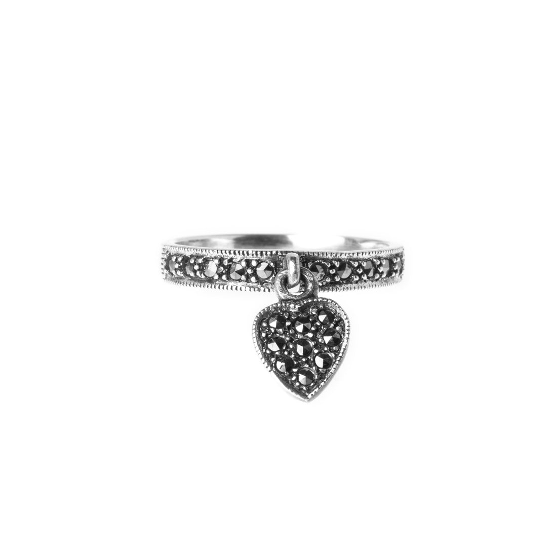 Sterling Silver Ring with Heart Charm LR-7936