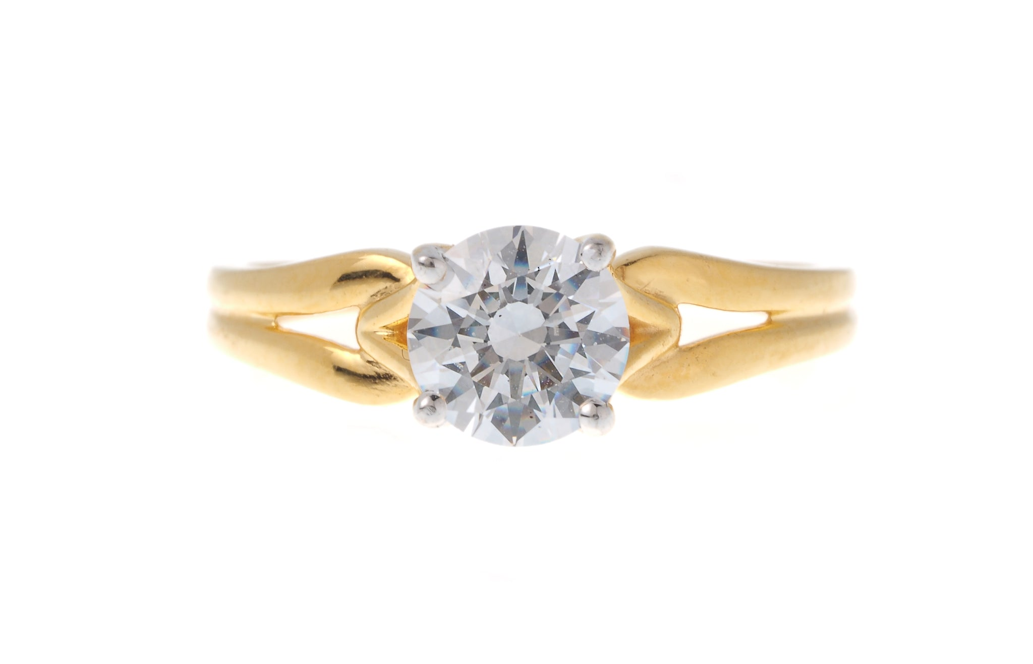 22ct Gold Engagement Ring set with a Swarovski Zirconia LR0266