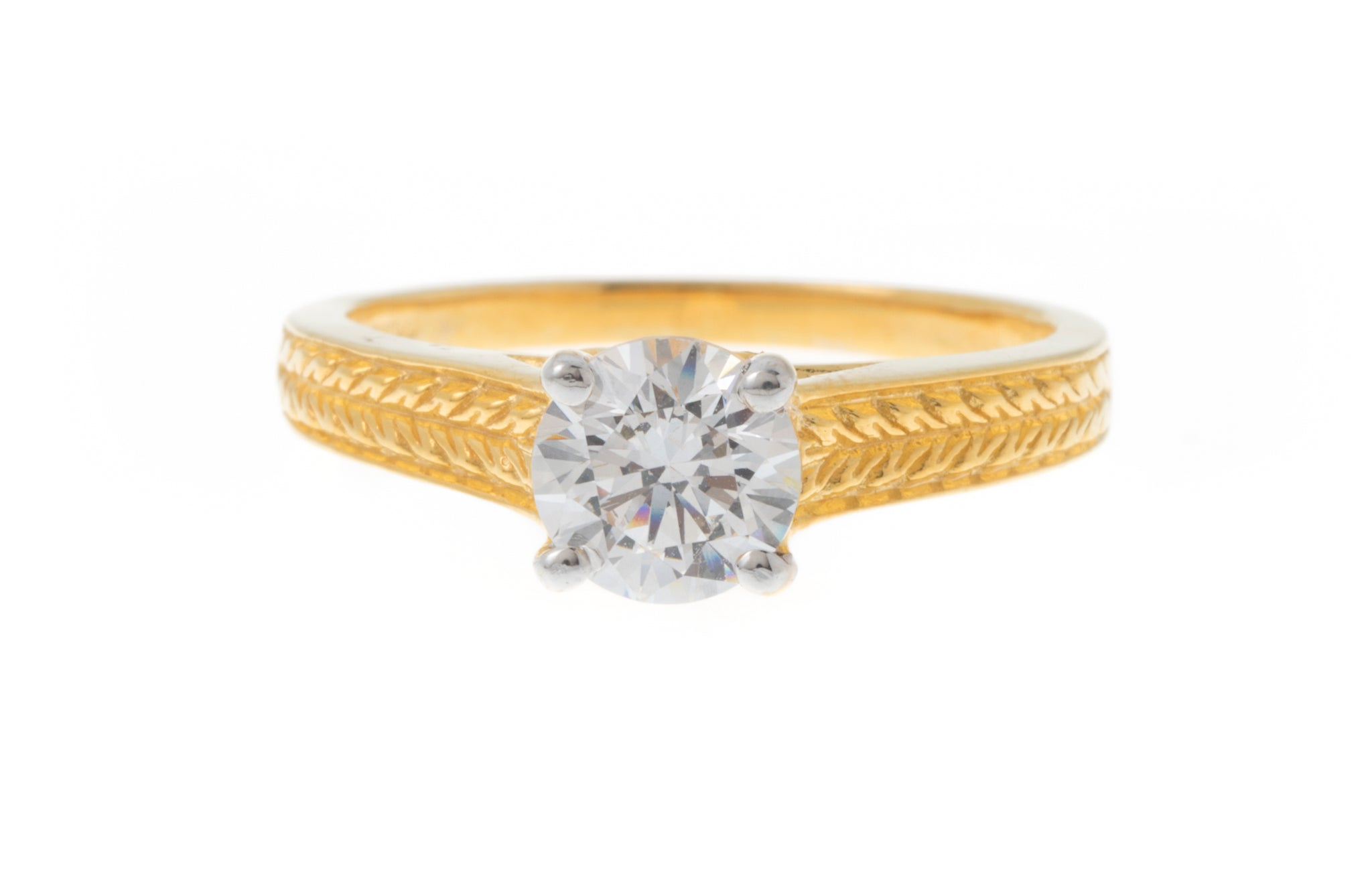 22ct Gold Cubic Zirconia Engagement Ring set with a Swarovski Zirconia (4.29g) LR0268