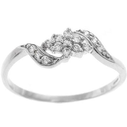 18ct White Gold Cubic Zirconia Dress Ring (LR10101)