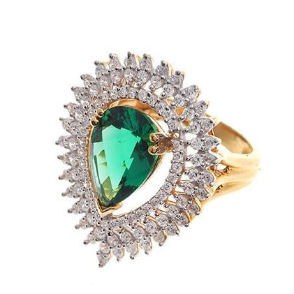 22ct Gold Swarovski Zirconia & Green Centre Stone Dress Ring LR11223