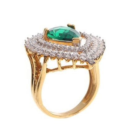 22ct Gold Cubic Zirconia & Green Centre Stone Dress Ring LR11223