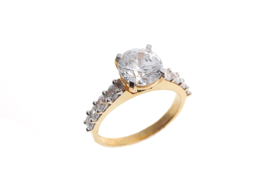 22ct Gold Cubic Zirconia Engagement Ring LR13313