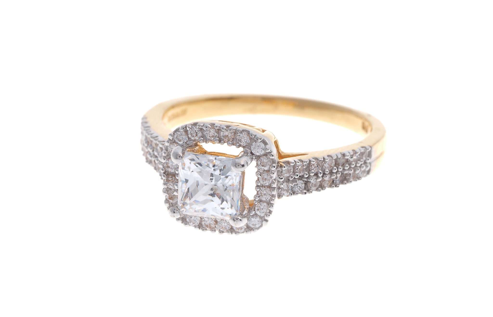 22ct Gold Cubic Zirconia Engagement Ring LR14284