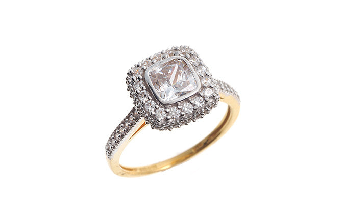 22ct Yellow Gold Cubic Zirconia Dress Ring (LR14287)