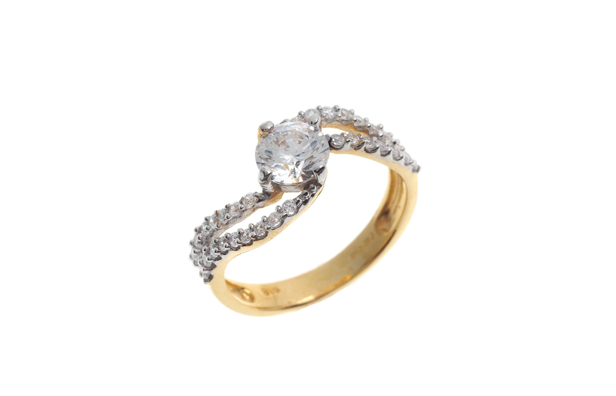 22ct Gold Cubic Zirconia Engagement Ring & Wedding Band Suite LR14436