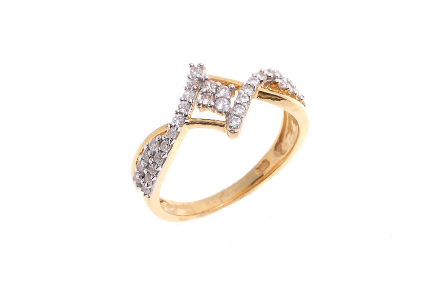 22ct Gold Cubic Zirconia Dress Ring LR14466