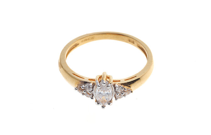22ct Gold Swarovski Zirconia Engagement Ring LR14581