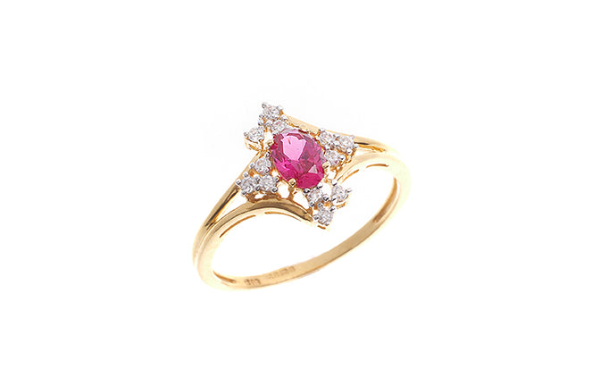 22ct Yellow Gold Red Cubic Zirconia Dress Ring (LR14589)