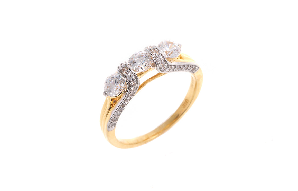 22ct Yellow Gold Cubic Zirconia Trilogy Ring (LR1458)