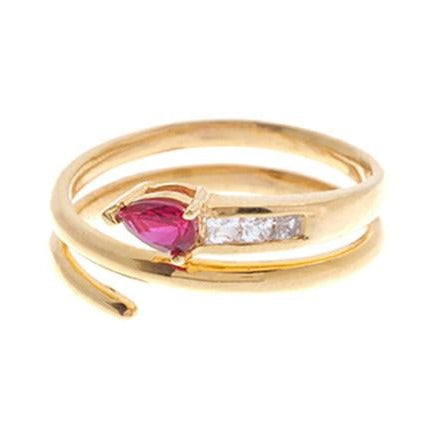 22ct Gold Red Cubic Zirconia Dress Ring LR14640