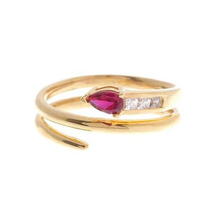 22ct Yellow Gold Red Cubic Zirconia Dress Ring (LR14640)