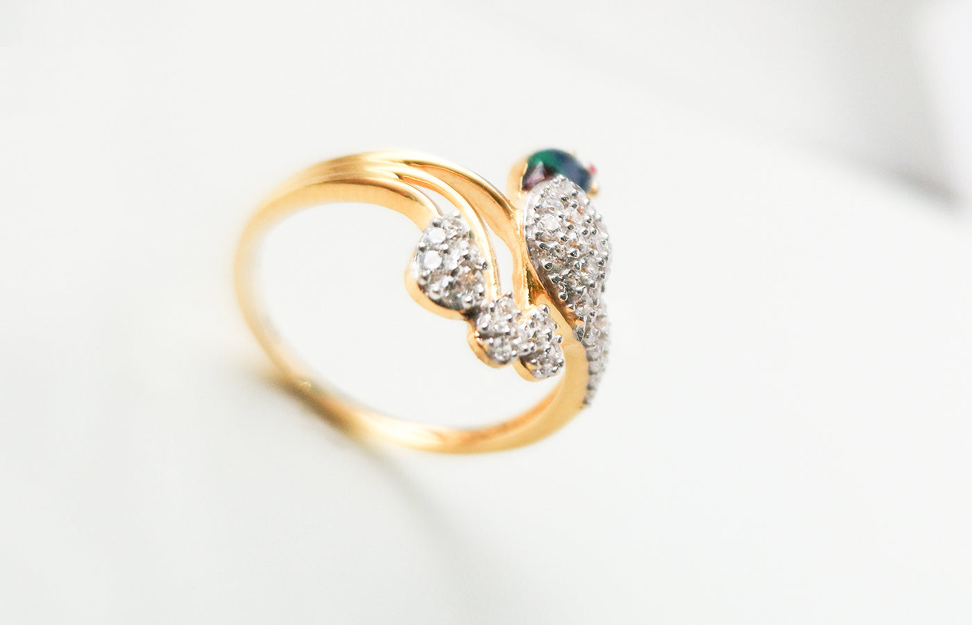 22ct Gold Peacock Design Dress Ring set with Swarovski Zirconias LR14649