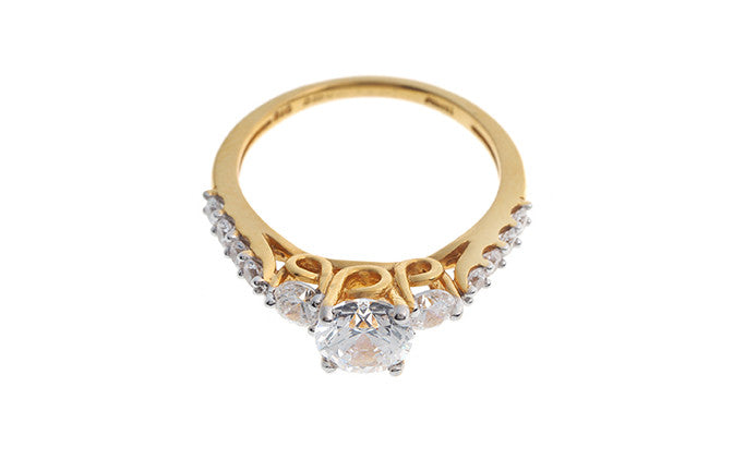 22ct Gold Swarovski Zirconia set Trilogy Ring with sides stones LR1465