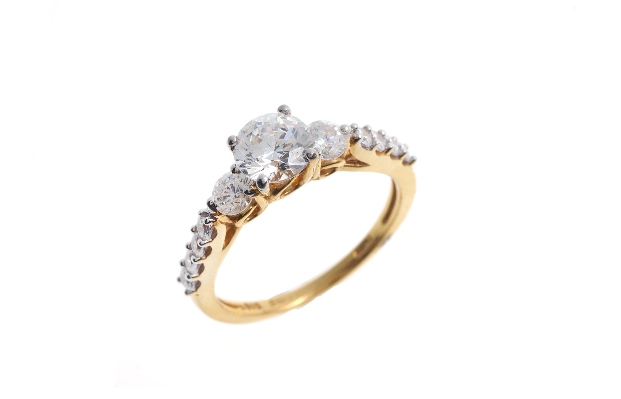 22ct Gold Cubic Zirconia Engagement Ring LR1465