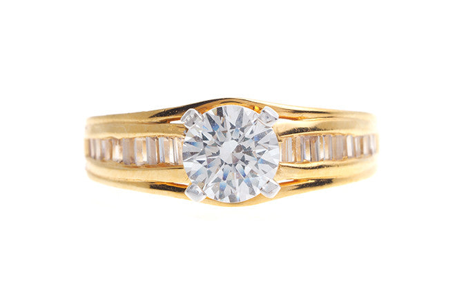 22ct Gold Cubic Zirconia Engagement Ring LR14688