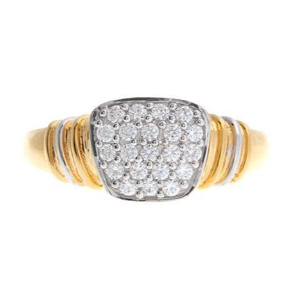 22 Carat Gold Cluster Men's Ring set with Cubic Zirconias LR14784