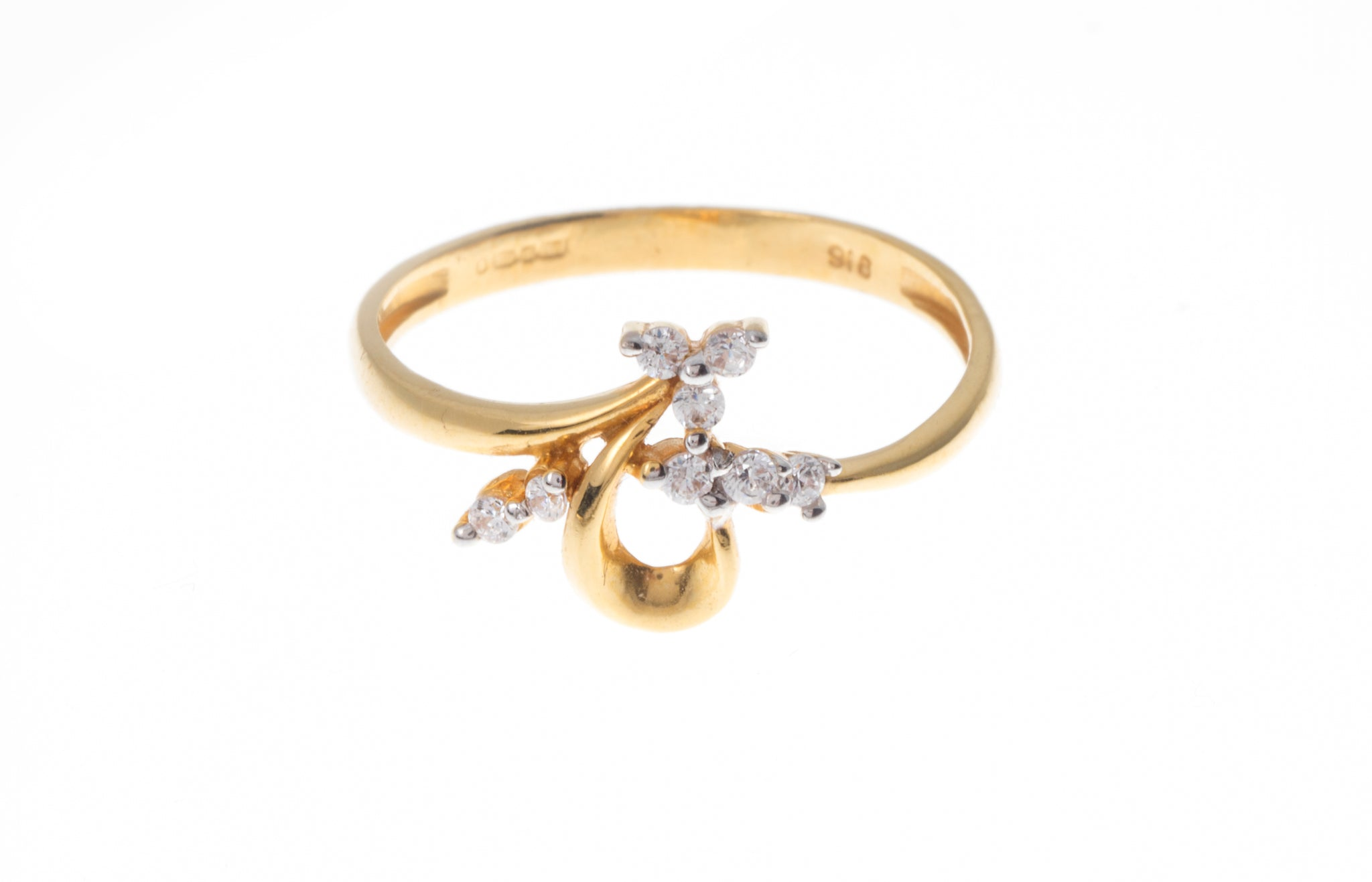 22ct Gold Cubic Zirconia Dress Ring LR15083
