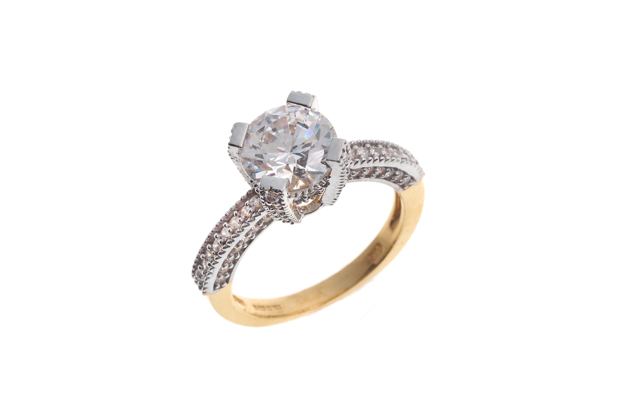 22ct Gold Cubic Zirconia Engagement Ring LR15170