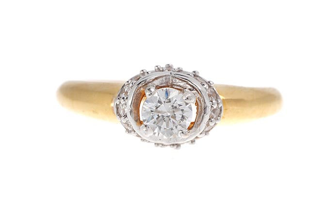 22ct Yellow Gold Cubic Zirconia Engagement Ring, Minar Jewellers - 2