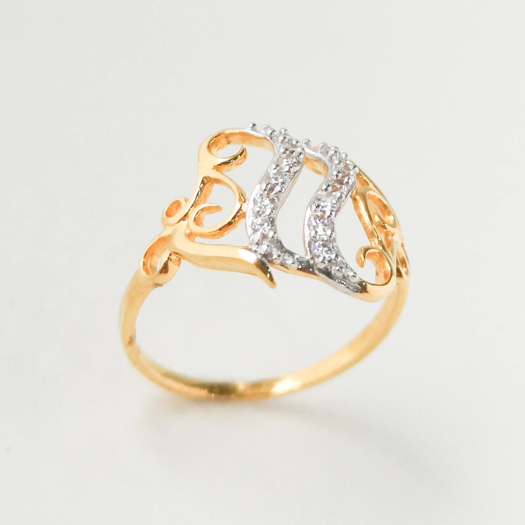 Dress Ring 22ct Gold with Swarovski Zirconias LR15388