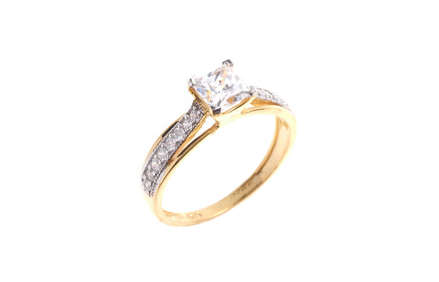 22ct Yellow Gold Cubic Zirconia Engagement Ring LR16430