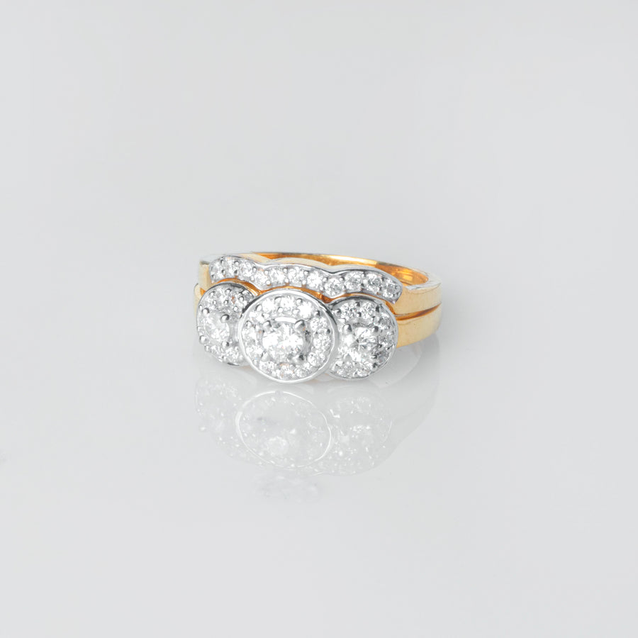 "22ct Gold Swarovski Zirconia Trilogy Style Engagement Ring and Wedding Band Suite ""jodi"" LR18425"