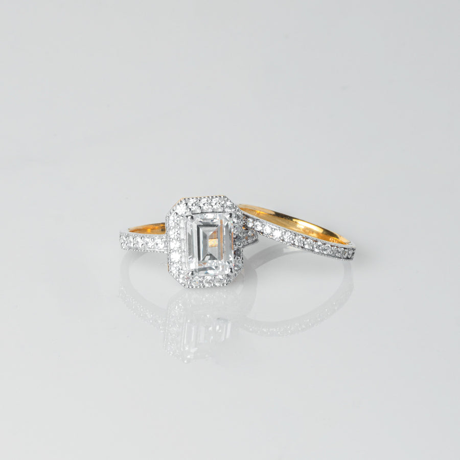 "22ct Gold Emerald Cut Swarovski Zirconia Engagement Ring and Wedding Band Suite ""jodi"" (5.85g) LR20009"