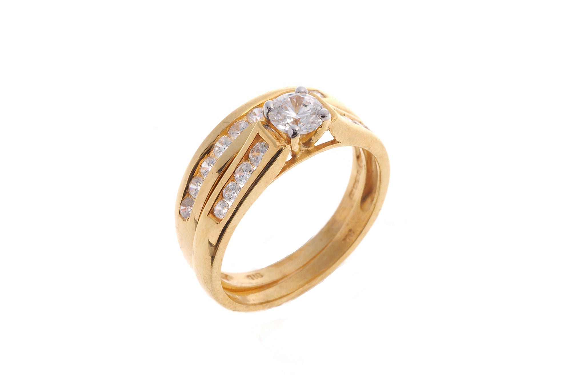 22ct Gold Cubic Zirconia Engagement Ring and Wedding Band Suite LR6487