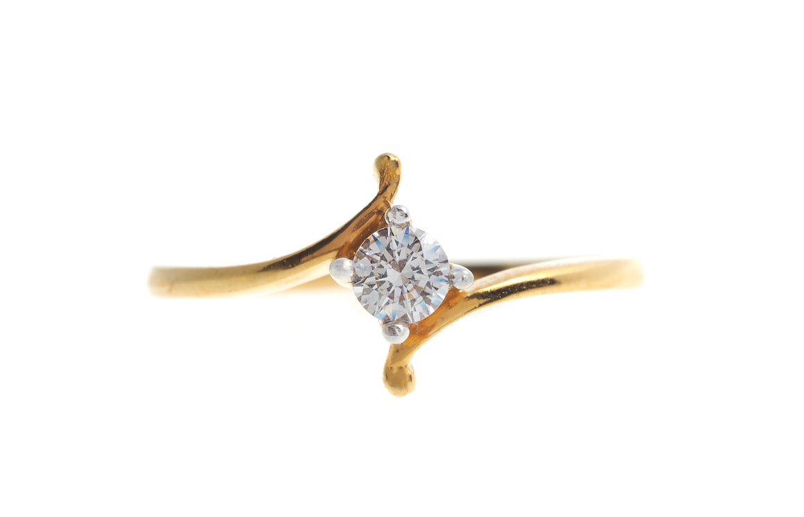 22ct Yellow Gold Cubic Zirconia Engagement Ring (LR70033)