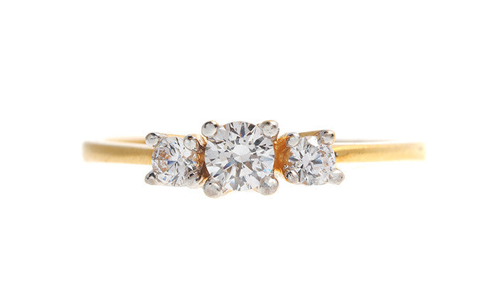 22ct Gold Cubic Zirconia Trilogy Ring LR70044