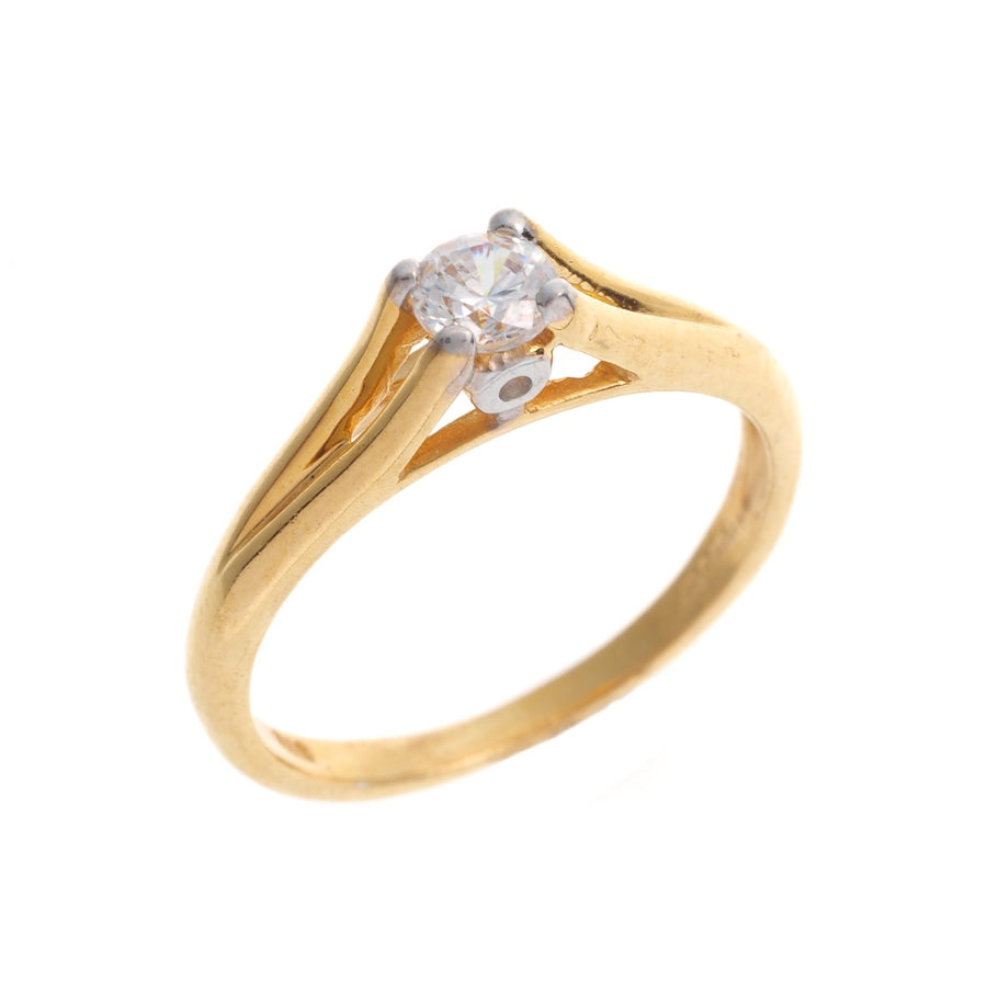 22ct Gold Swarovski Zirconia Engagement Ring LR70170