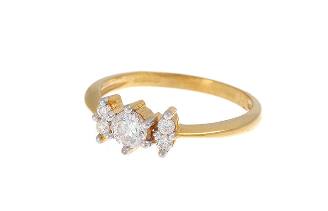 22ct Gold Cubic Zirconia Trilogy Ring LR70288