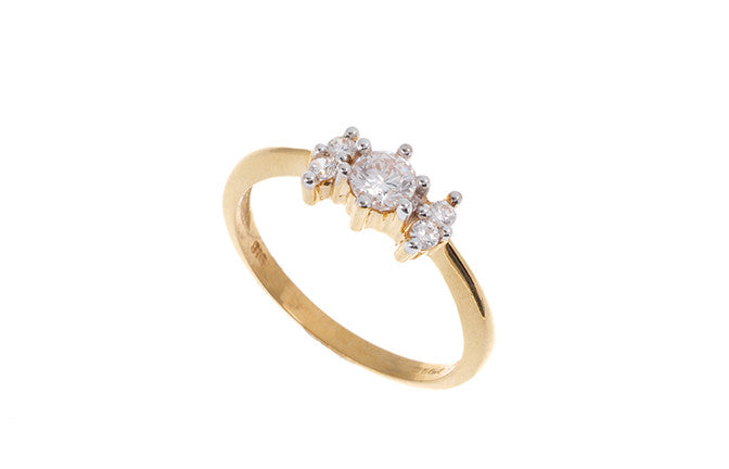 22ct Yellow Gold Cubic Zirconia Trilogy Ring (LR70288)