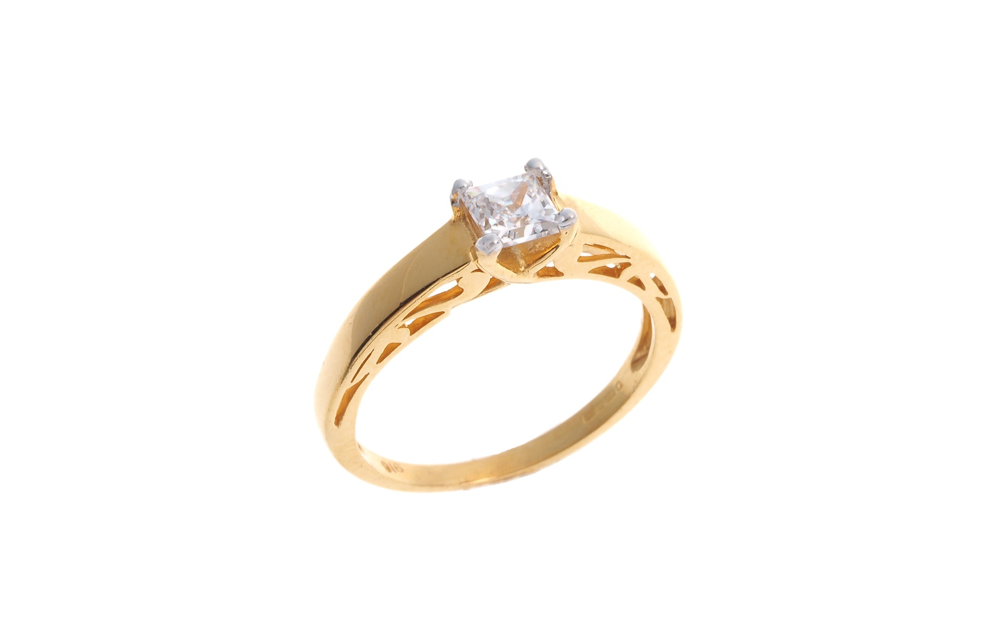 22ct Gold Cubic Zirconia Engagement Ring LR70749