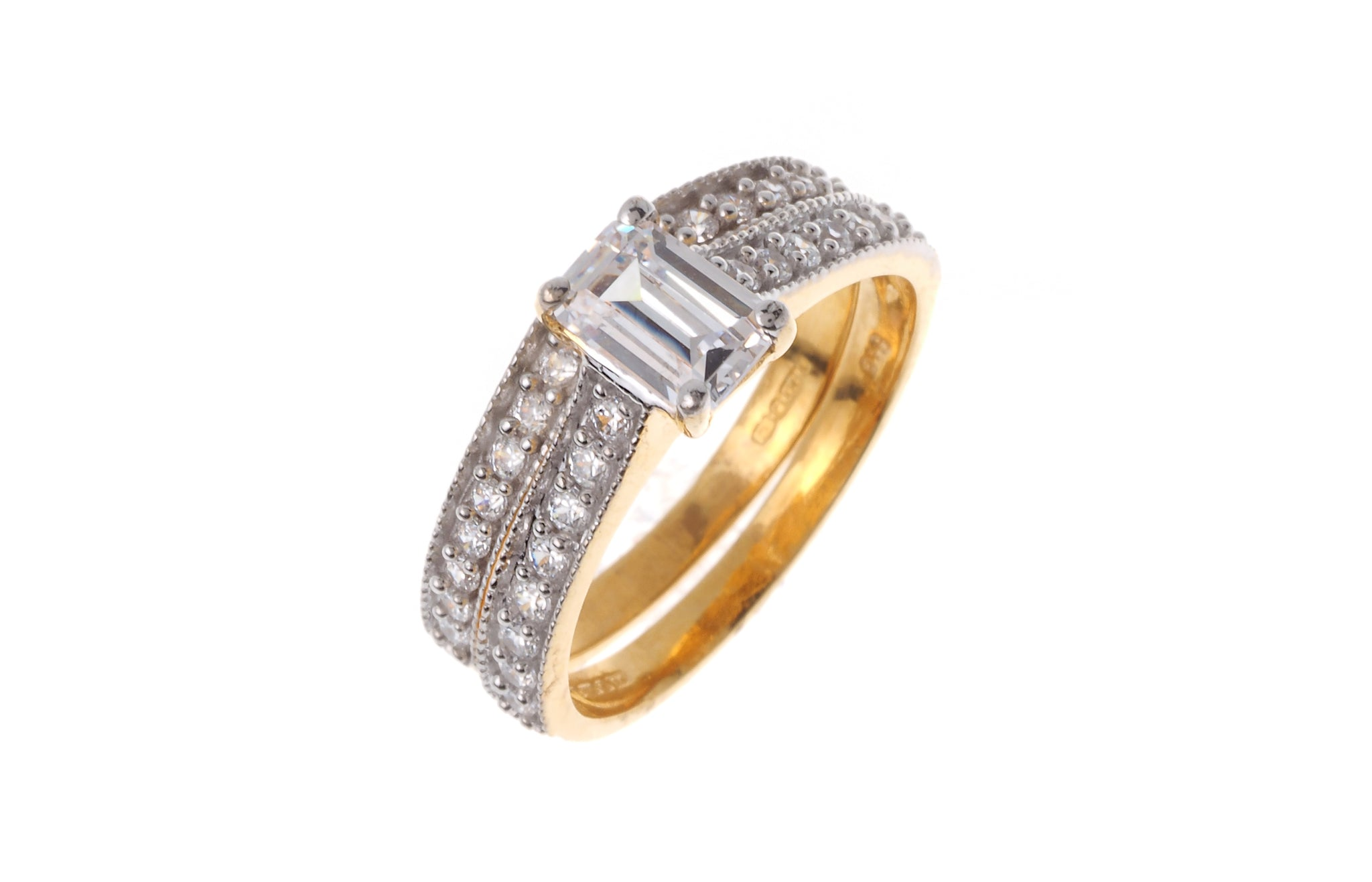 22ct Gold Cubic Zirconia Engagement Ring and Wedding Band Suite LR7371