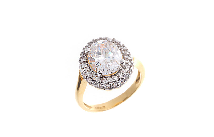22ct Gold Cubic Zirconia Dress Ring LR8081