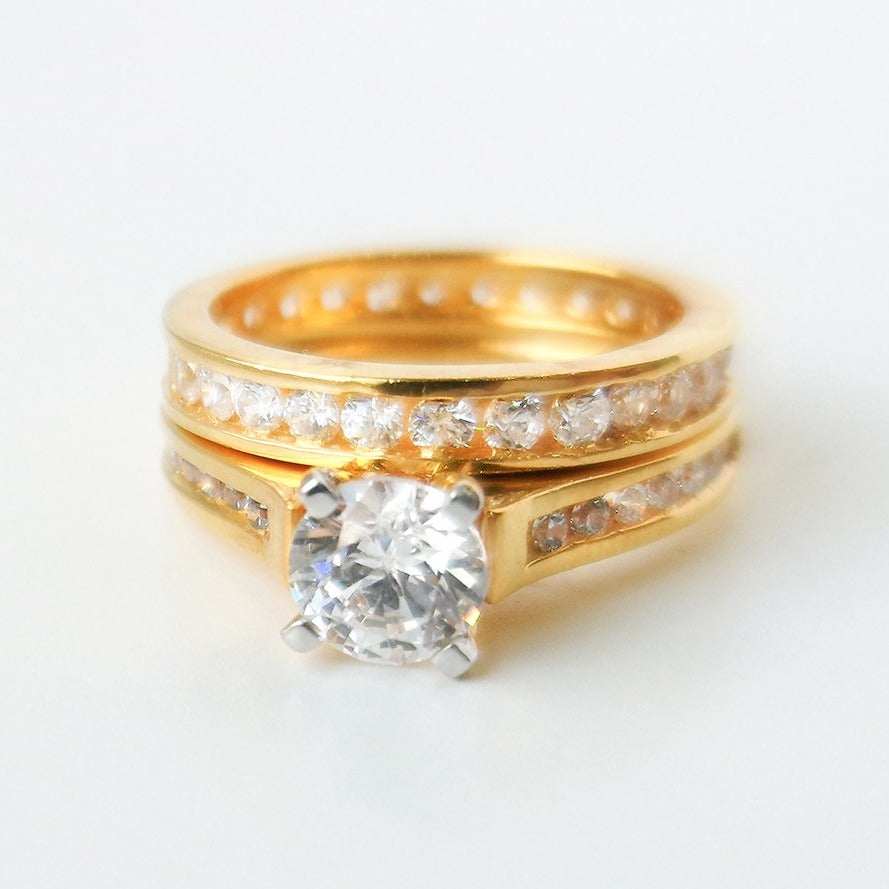 22ct Gold Engagement Ring and Wedding Band Suite set with Swarovski Zirconias LR8228