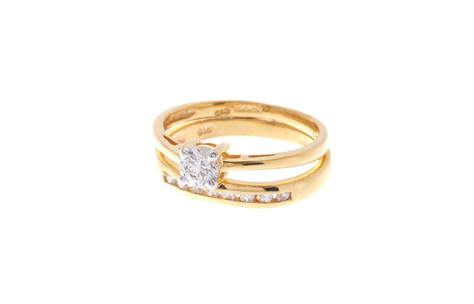 22ct Gold Cubic Zirconia Engagement Ring and Wedding Band Suite (LR8230)