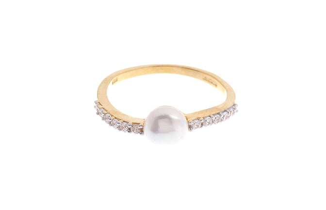 22ct Gold Cubic Zirconia and Cultured Pearl Dress Ring LR9031