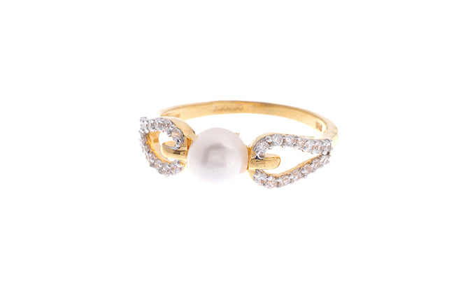 22ct Gold Cubic Zirconia and Cultured Pearl Dress Ring (LR9033)