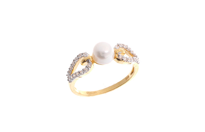 22ct Gold Cubic Zirconia and Cultured Pearl Dress Ring LR9033