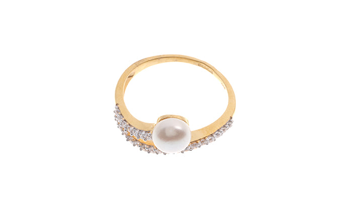 22ct Gold Cubic Zirconia and Cultured Pearl Dress Ring LR9040