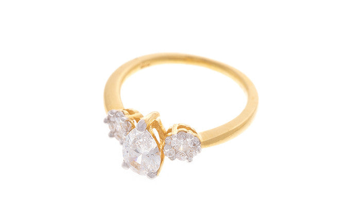 22ct Yellow Gold Cubic Zirconia Trilogy Ring (LR9155)