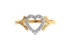22ct Yellow Gold Cubic Zirconia Heart Shaped Dress Ring (LR9258)