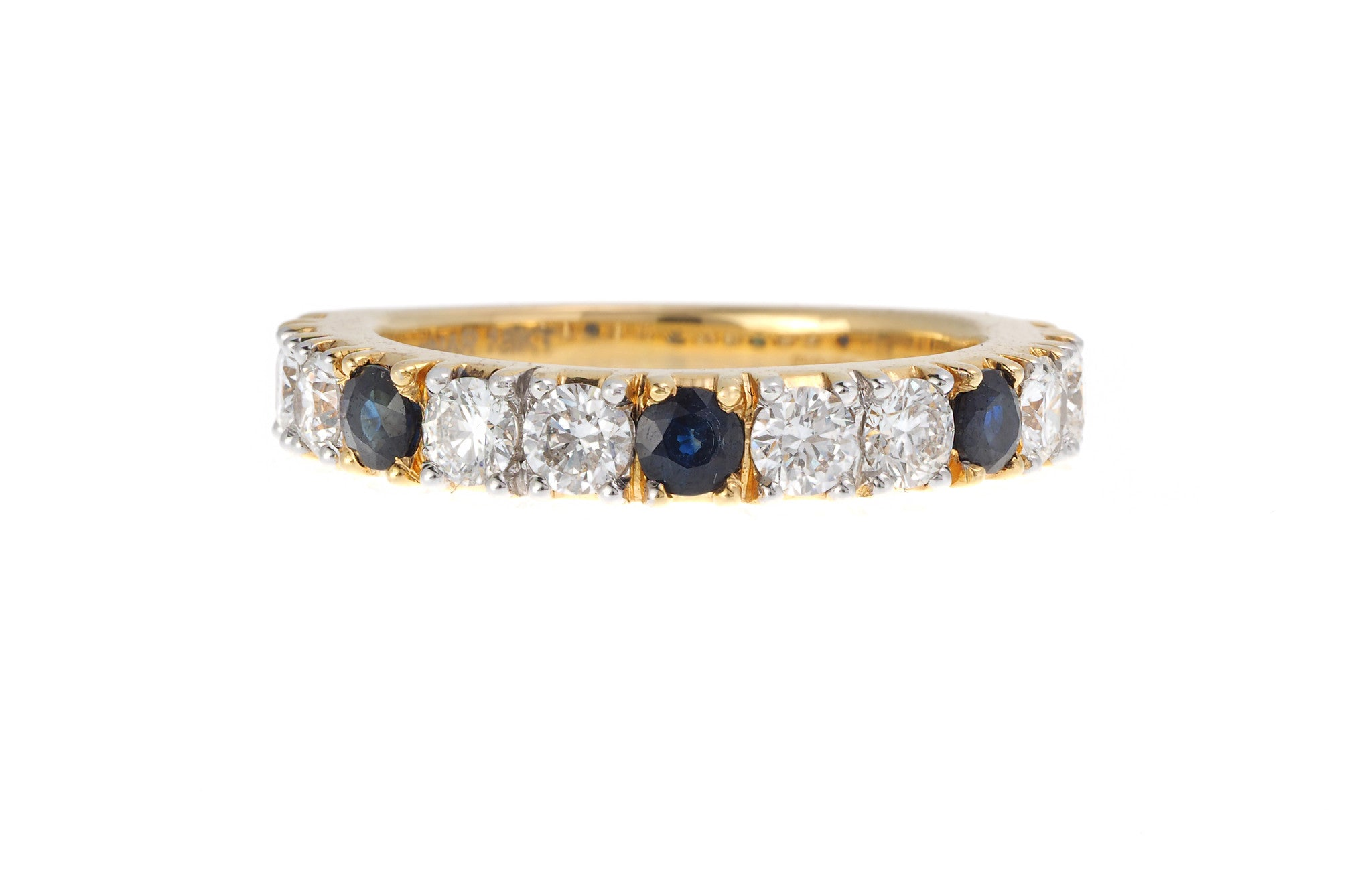 18ct Yellow Gold Blue Sapphire & Diamond Dress Ring, Minar Jewellers - 2