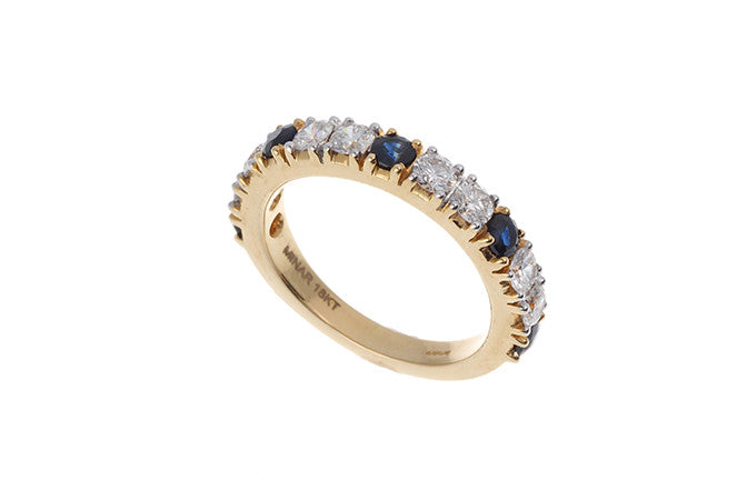 18ct Yellow Gold Blue Sapphire & Diamond Dress Ring, Minar Jewellers - 1